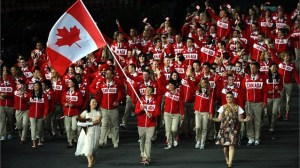 Team Canada during opening ceremonies of London Olympics