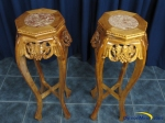 DymonMine Carved Wood Marble Stands