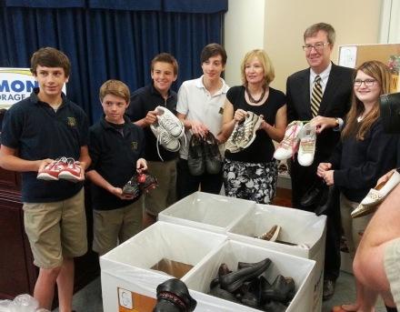 Mayor Jim Watson Laureen Harper and students at Soles4Souls
